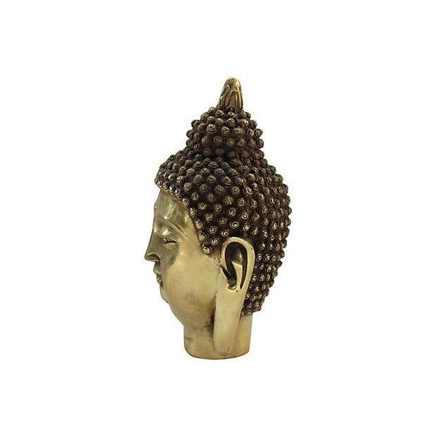 Brass Buddha Head Statue - Image 5 of 6