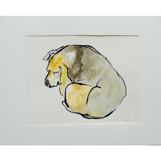 Contemporary Martha Holden Beagle Sleep Watercolor Painting - Image 4 of 4