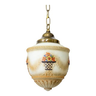 1920's Traditional Hand Painted Glass Pendant For Sale