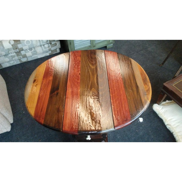 """Beautiful solid pine drop-leaf table by Ethan Allen. Classic """"Old Tavern"""" style, this vintage piece has been refinished in..."""