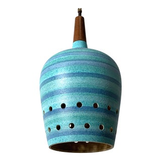 1960s Vintage Turquoise Striped Ceramic Pendant Lamp For Sale