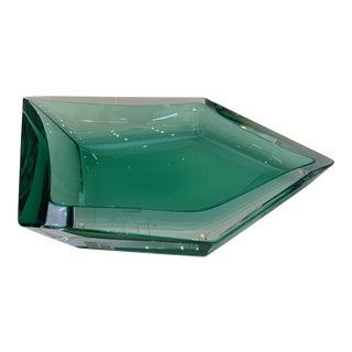 21st Century Emerald Green Crystal Murano Organic Bowl by Mandruzzato For Sale