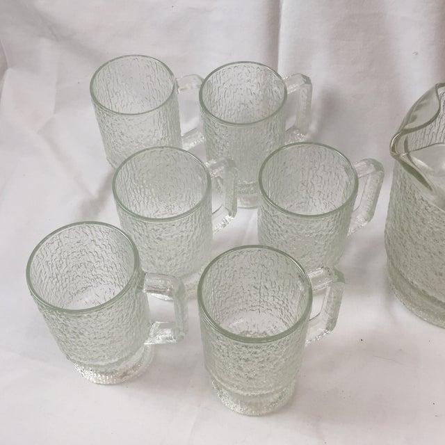 Glass Vintage Tree Bark Texture Mugs & Pitcher Set For Sale - Image 7 of 8