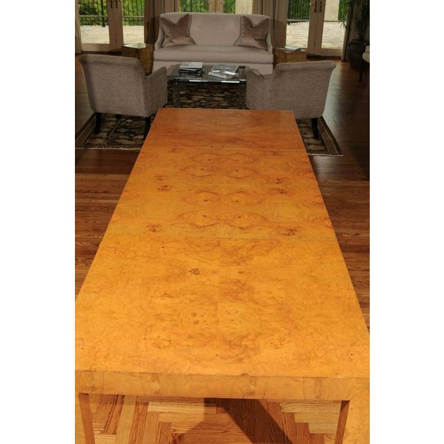 Outstanding Extension Dining or Conference Table in Bookmatched Olivewood For Sale - Image 9 of 10