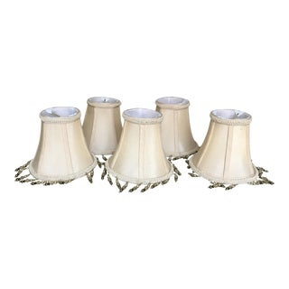 Off-White Silk Chandelier Lamp Shades - Set of 5