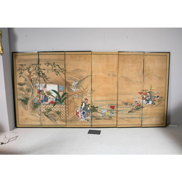 18th Century Japanese Six-Panel Screen For Sale - Image 4 of 4