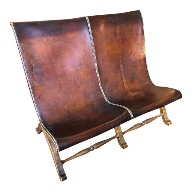 1950s Vintage Leather Riveted Settee For Sale
