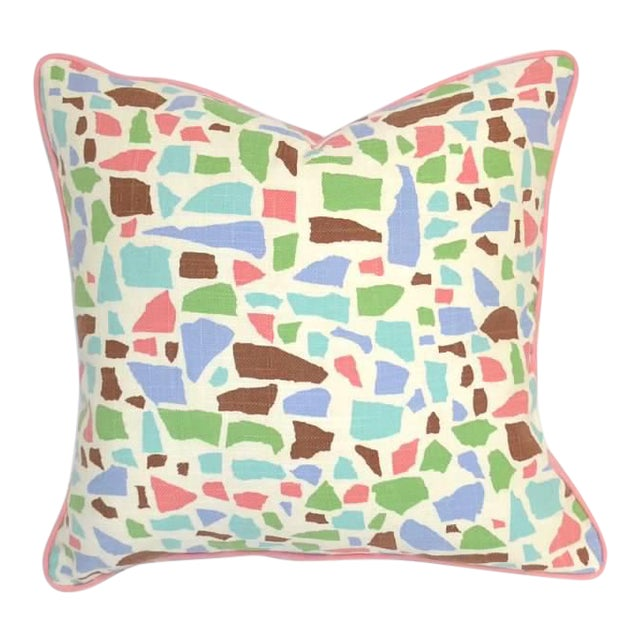 Lulu Dk Duralee Pink Geometric Printed Multi-Colored Pillow For Sale