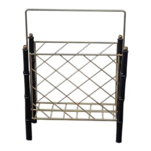 1960s Mid Century Modern Faux Bamboo Magazine Rack For Sale