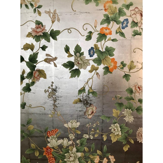 Mid 20th Century Chinoiserie Old Handpainted Wallpaper Panel Mounted on Foam Core For Sale - Image 5 of 7