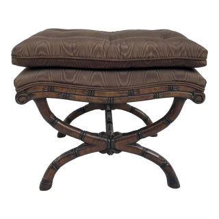 Vintage Upholstered Faux Bamboo Wood Carved Bench For Sale
