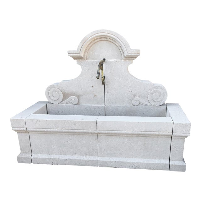 Hand-Carved Limestone Wall Fountain For Sale