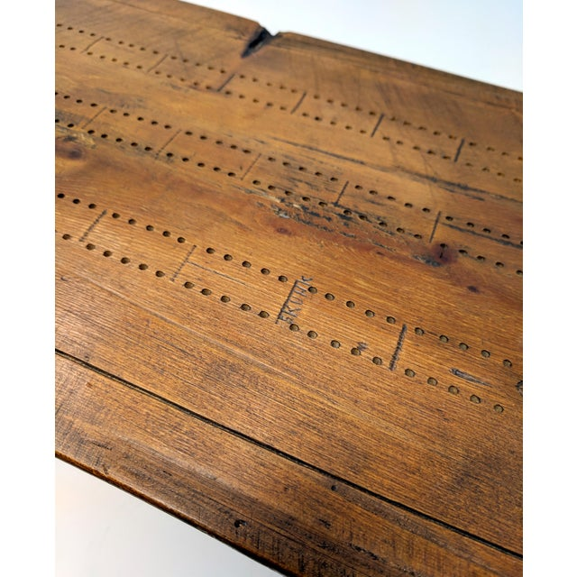 Late 20th Century Vintage Folk Art Half-Log Cribbage Board For Sale - Image 5 of 10
