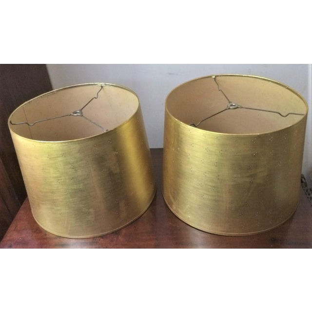 Vintage Perforated Gold Lamp Shades - a Pair For Sale - Image 4 of 8