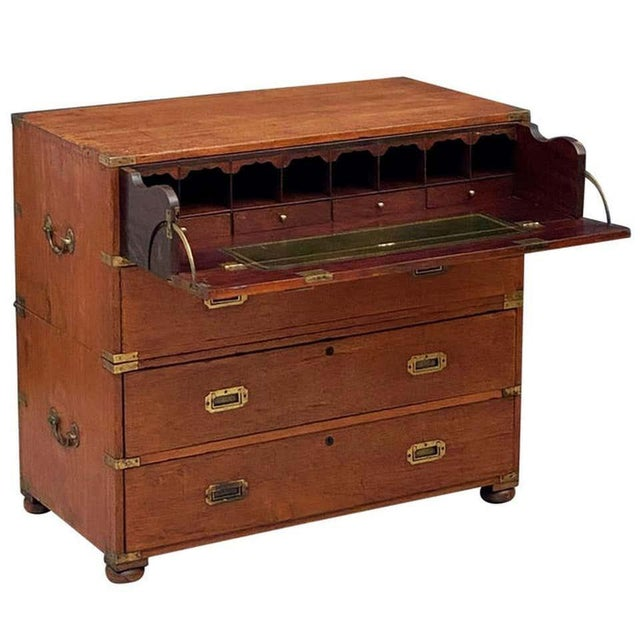 English Officer's Campaign Chest Secretaire of Teak and Brass For Sale - Image 13 of 13