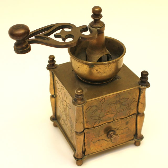 19th Century European Solid Brass Coffee Mill - Image 4 of 8