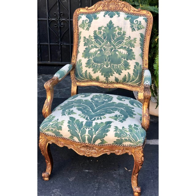 French Minton-Spidell Mariano Fortuny Louis XVI Bergere Chairs - a Pair For Sale - Image 3 of 8