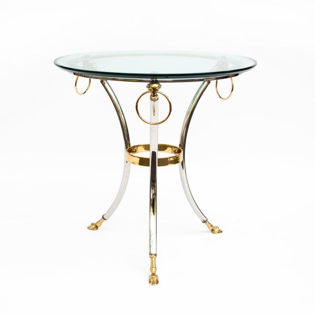Brass, Chrome and Glass Rams Head Hoof Round Side Table For Sale - Image 12 of 12