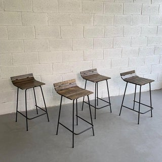 Custom Wrought Iron and Slat Maple Counter Height Stools- Set of 4 Preview