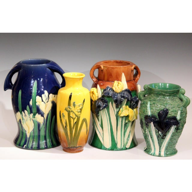 Large 1920s Awaji Pottery Antique Applied Irises in Deep Relief Vase For Sale - Image 10 of 13