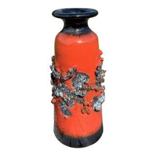 1970s Mid-Century Modern Vintage Gilt Lava Ceramics Vase, Iceland For Sale