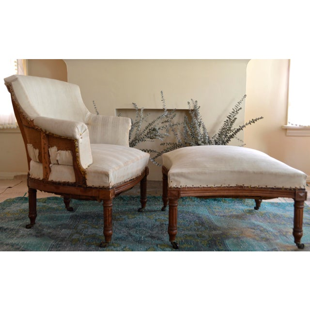 Antique French Napoleon Armchair and Ottoman - Image 2 of 10