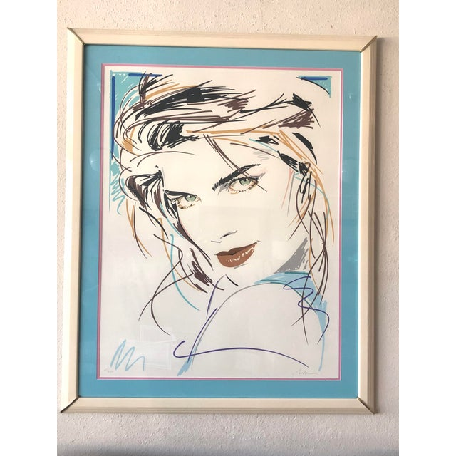 """Lithograph """"Victoria/Green Eyes"""" Postmodern Portrait Serigraph Limited Edition by Dennis Mukai, Framed For Sale - Image 7 of 7"""