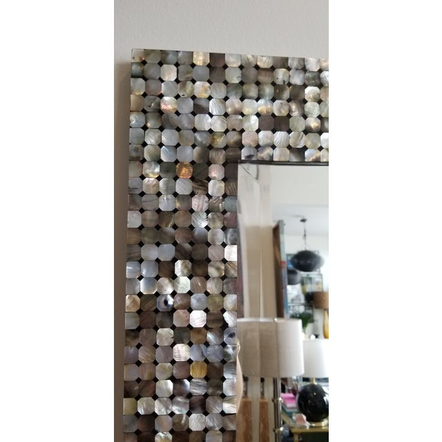 Made Goods Made Goods Mother of Pearl Silver and Black Wall Mirror For Sale - Image 4 of 5