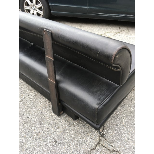 Italian Black Leather Sofas With Floating Back - a Pair For Sale In Los Angeles - Image 6 of 13