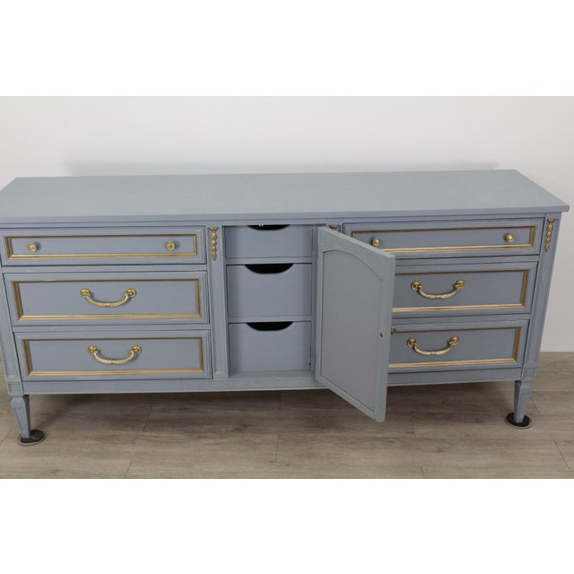 Mid Century Gray Neoclassical Style Dresser For Sale - Image 10 of 11