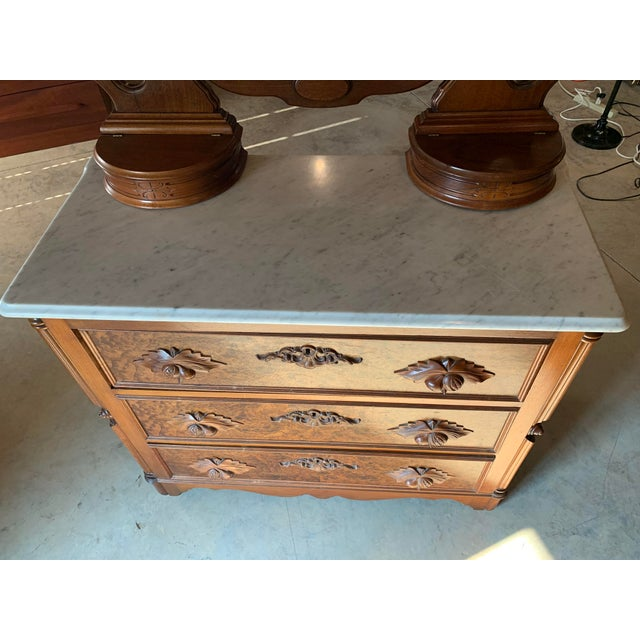 Late 19th Century Late 1800's Victorian Carved Mahogany White Marble Top Dresser With Tilt Mirror For Sale - Image 5 of 13