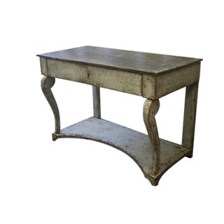 1920s Dauphine Painted Spanish Console Table With Lower Shelf
