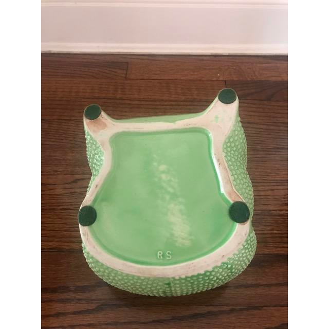 1970s Green Ceramic Frog Planter For Sale - Image 5 of 6