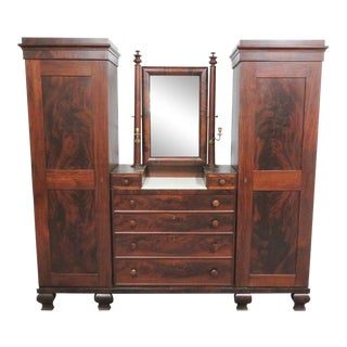 Rare American Empire Mahogany Gentleman's Amroire For Sale