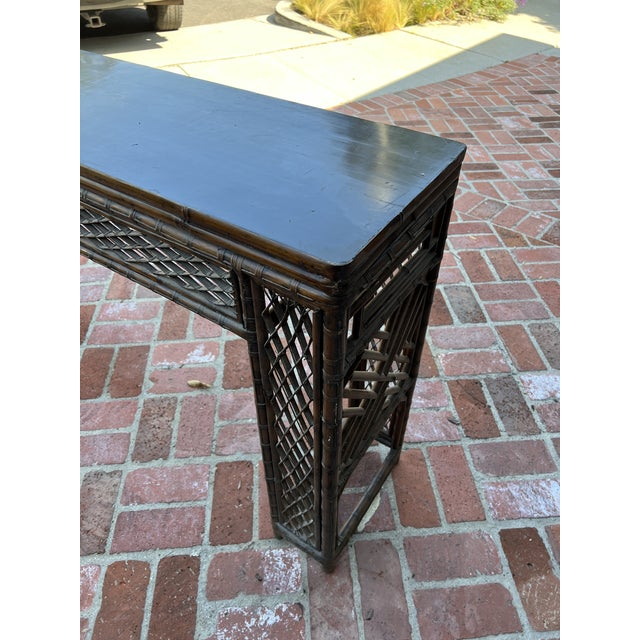 Antique Bamboo Chinoiserie Console For Sale - Image 9 of 12