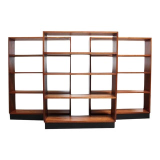 Mid-Century Custom Mahogany Book Shelves with Ebonized Plinth Bases For Sale