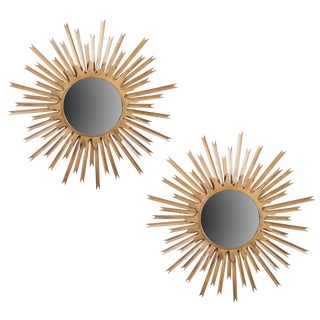 Large Brass Sunburst Mirrors With Back Lighting For Sale