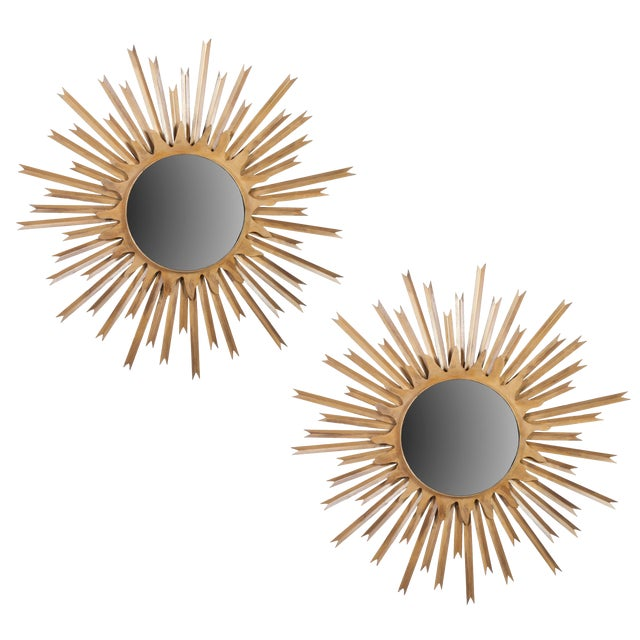 Pair of Large Brass Sunburst Mirrors With Back Lighting Selling Individually For Sale