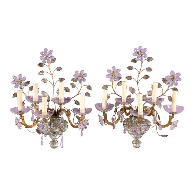 1930s French Crystal Flower Gilt Sconces - a Pair For Sale