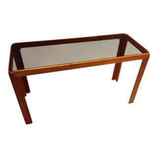 1960's Scandinavian Modern Poul Hundevad Teak and Glass Console For Sale