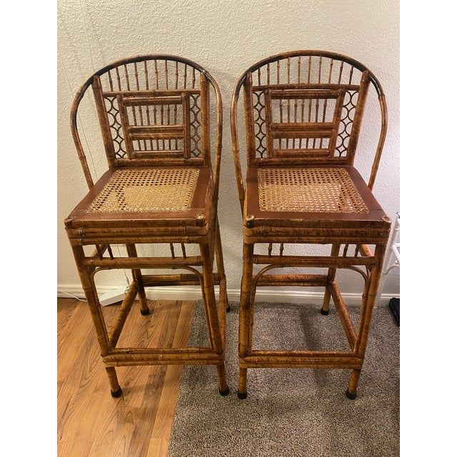 1970s Vintage Brighton Pavilion Bamboo and Cane Stools- a Pair For Sale - Image 10 of 10