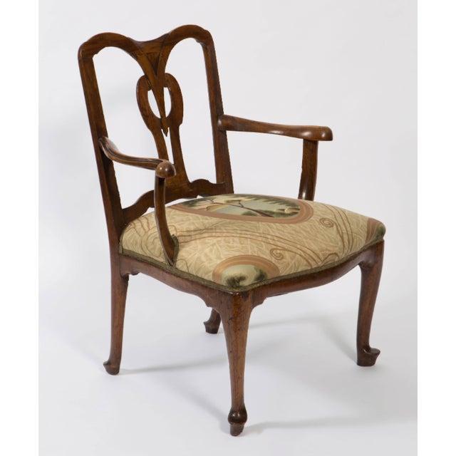 18th Century Vintage Walnut Italian Open Back Armchair For Sale In Nashville - Image 6 of 13