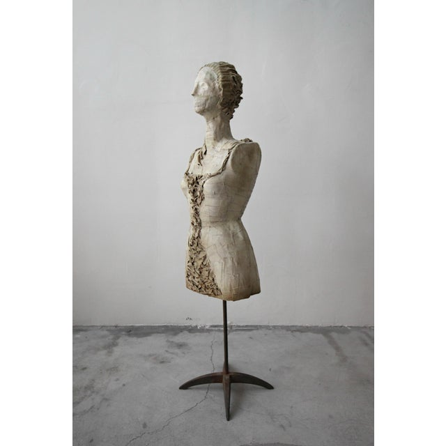 Antique 1920's French Female Art Dress Form Mannequin on Steel Stand For Sale - Image 4 of 9