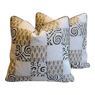 "Silvery/Gold Mariano Fortuny Feather/Down Pillows 19"" Square, Pair For Sale"