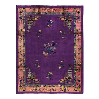 Contemporary Hand Woven Purple Floral Rug - 9'0 X 11'5 For Sale