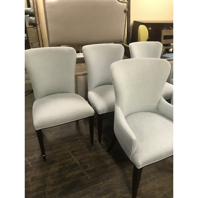 Wood Henredon Furniture Barbara Barry Bowmont Light Blue Dining Chairs- 6 Pieces For Sale - Image 7 of 11