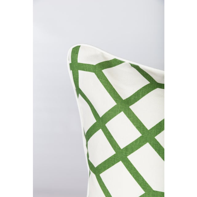 Custom Linen Emerald Lattice Imperial Pillows - A Pair - Image 2 of 4