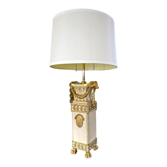 French Gilt Wood Rams Head Paw Feet Table Lamp For Sale