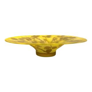 1970 Austrian Art Nouveau Style Yellow Glass Bowl / Dish With Brown Flower Decor For Sale