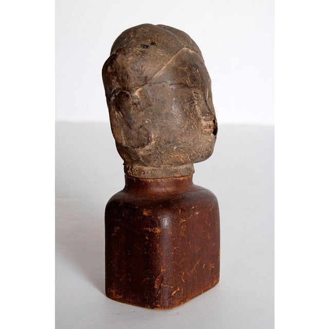 17th Century Asian Antiquity Clay Head on Wood Base For Sale - Image 5 of 13